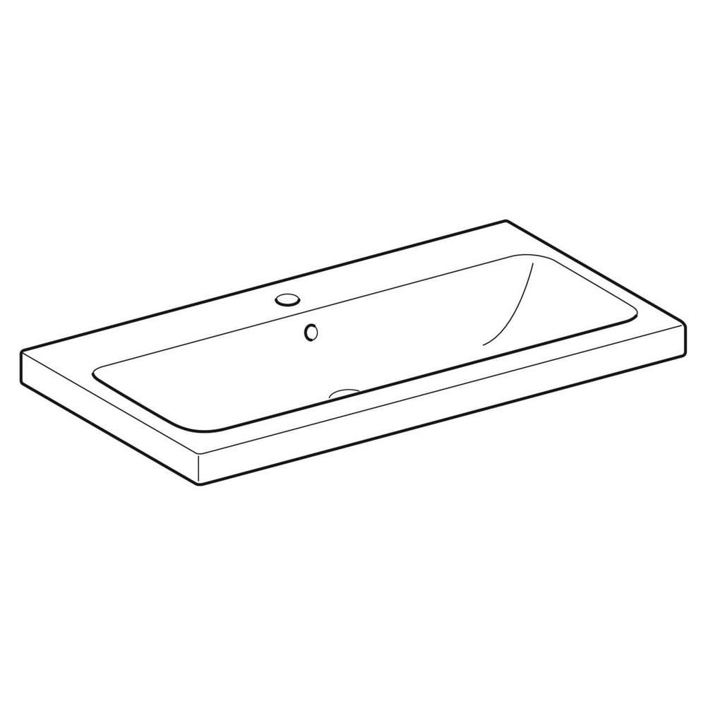 Geberit iCon wastafel 90x48 cm, met kraangat en overloop, wit