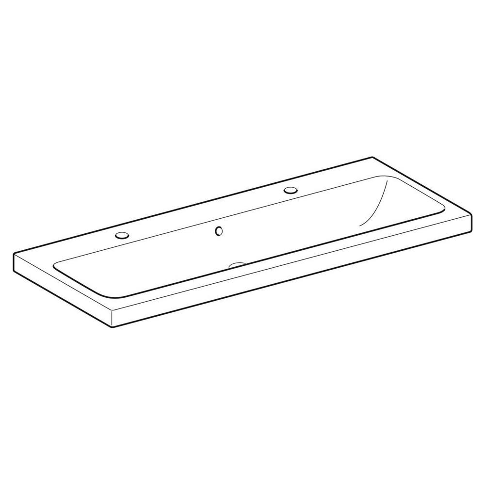 Geberit iCon wastafel 120x48 cm, met kraangat en overloop, wit