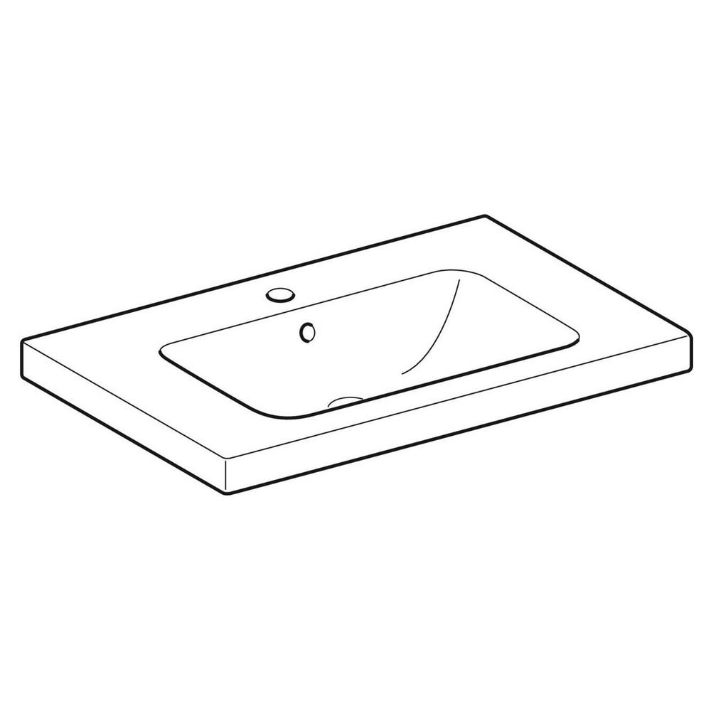 Geberit iCon wastafel 75x48 cm, met kraangat, overloop en aflegvlak, wit