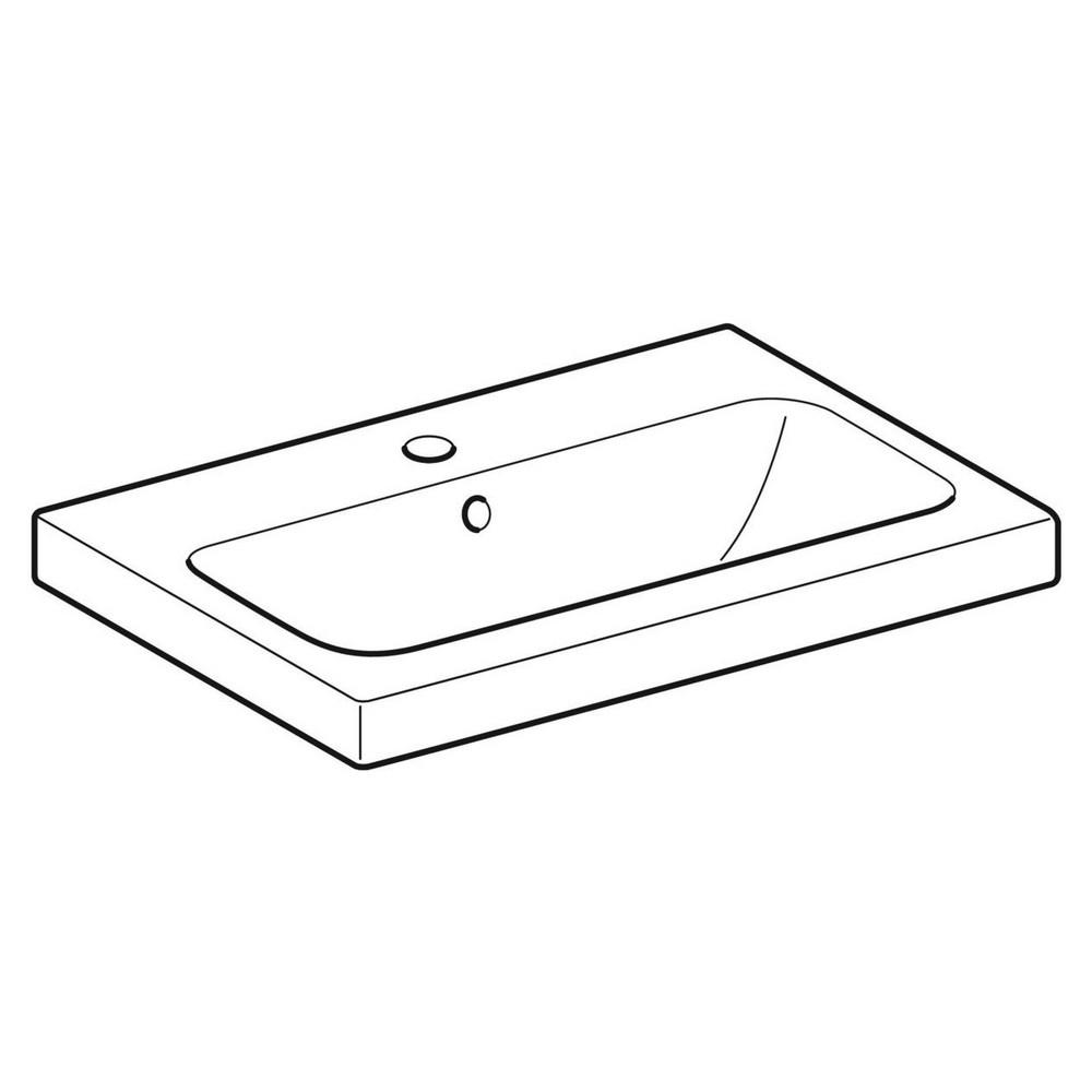 Geberit iCon wastafel 60x42 cm, met kraangat en overloop, wit
