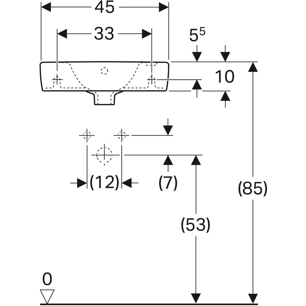 Geberit Renova Compact fontein 45x25 cm, 1 kraangat rechts, met overloop, met KeraTect, wit