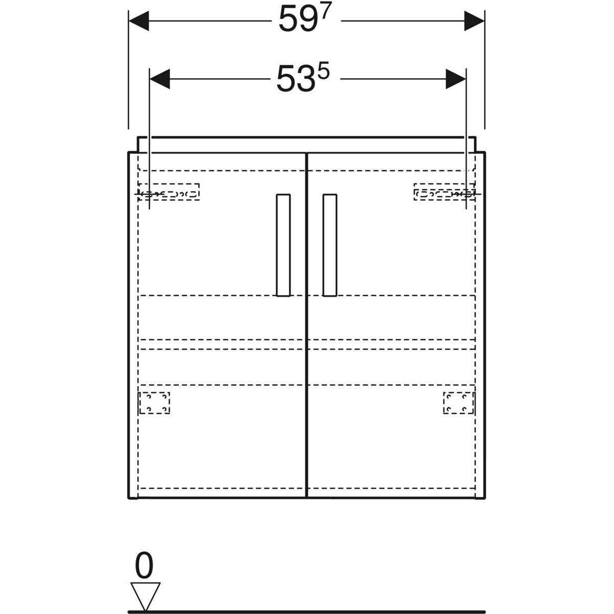 Geberit Renova Compact onderkast wastafel 2 deur 59,7x39,7 cm, wit