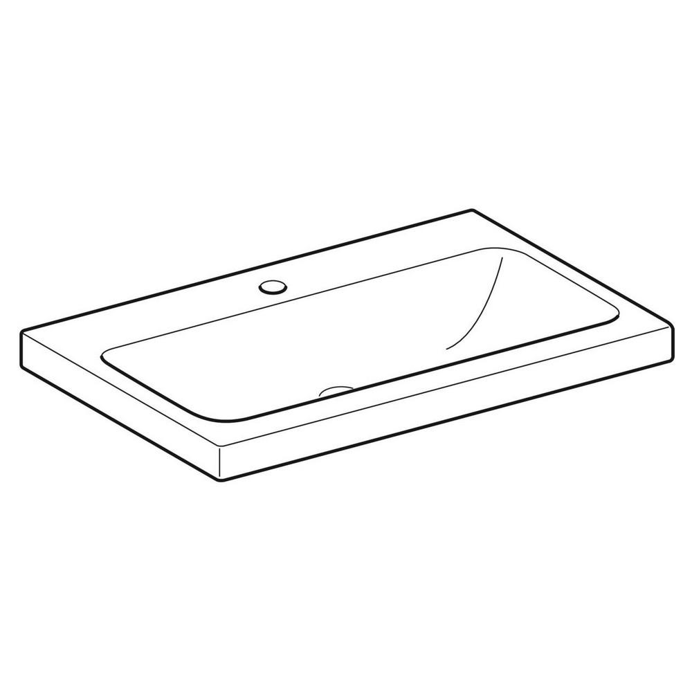 Geberit iCon Light wastafel 75x48 cm, 1 kraangat, zonder overloop, wit