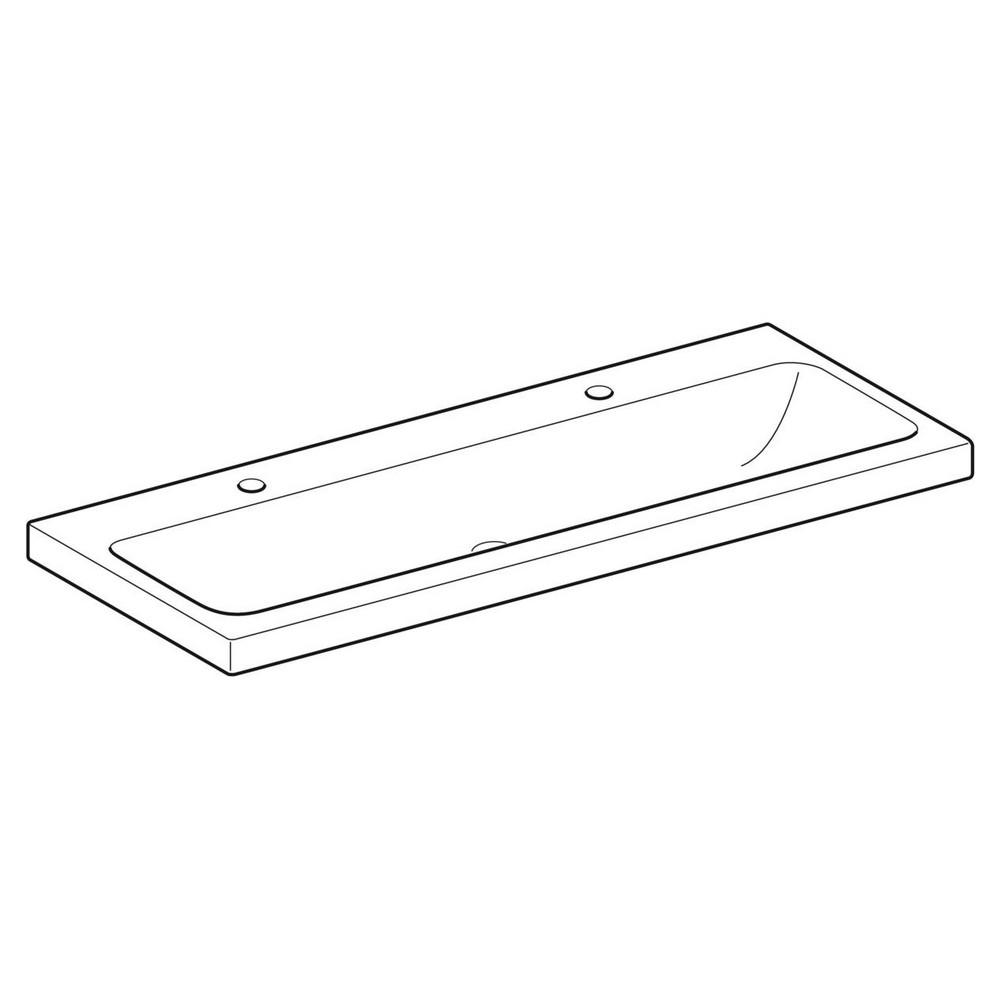 Geberit iCon Light wastafel 120x48 cm, 2 kraangat, zonder overloop, wit
