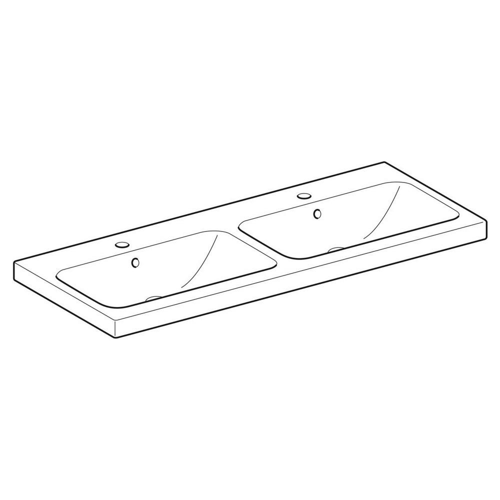 Geberit iCon Light dubbele wastafel 120x48 cm, 2 kraangat, met overloop, met KeraTect, wit