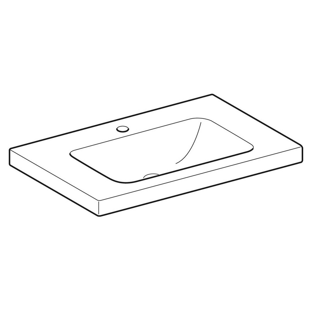Geberit iCon Light wastafel 75x48 cm, 1 kraangat, zonder overloop, met aflegvlak, wit