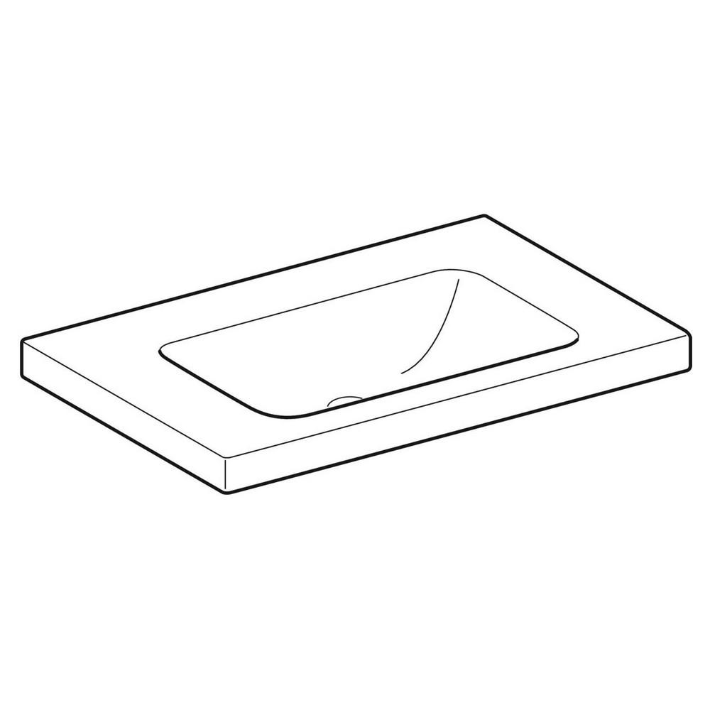 Geberit iCon Light wastafel 75x48 cm, zonder kraangat, zonder overloop, met aflegvlak, wit
