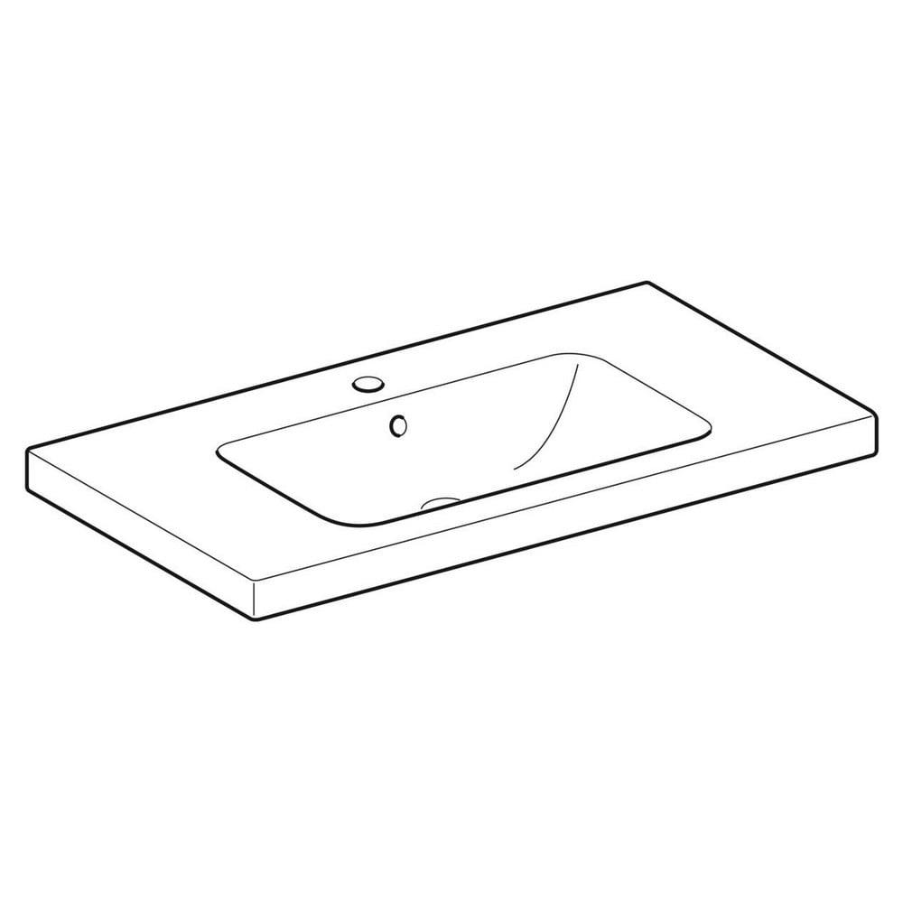 Geberit iCon Light wastafel 90x48 cm, 1 kraangat, met overloop en aflegvlak, met KeraTect, wit