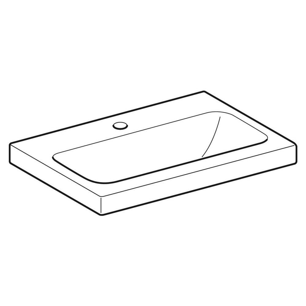 Geberit iCon Light wastafel 60x42 cm, 1 kraangat, zonder overloop, met KeraTect, wit
