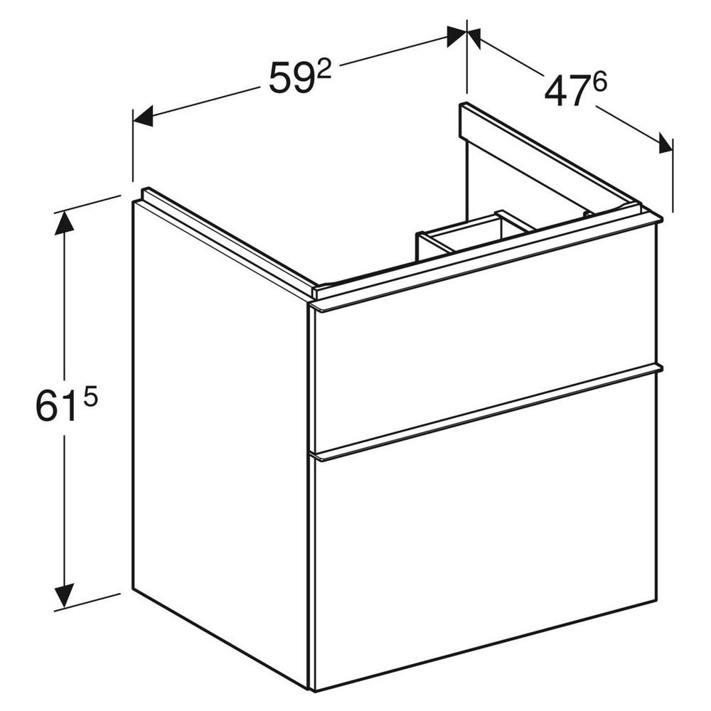Geberit iCon wastafelonderkast 2 lade 59x47,6 cm, wit