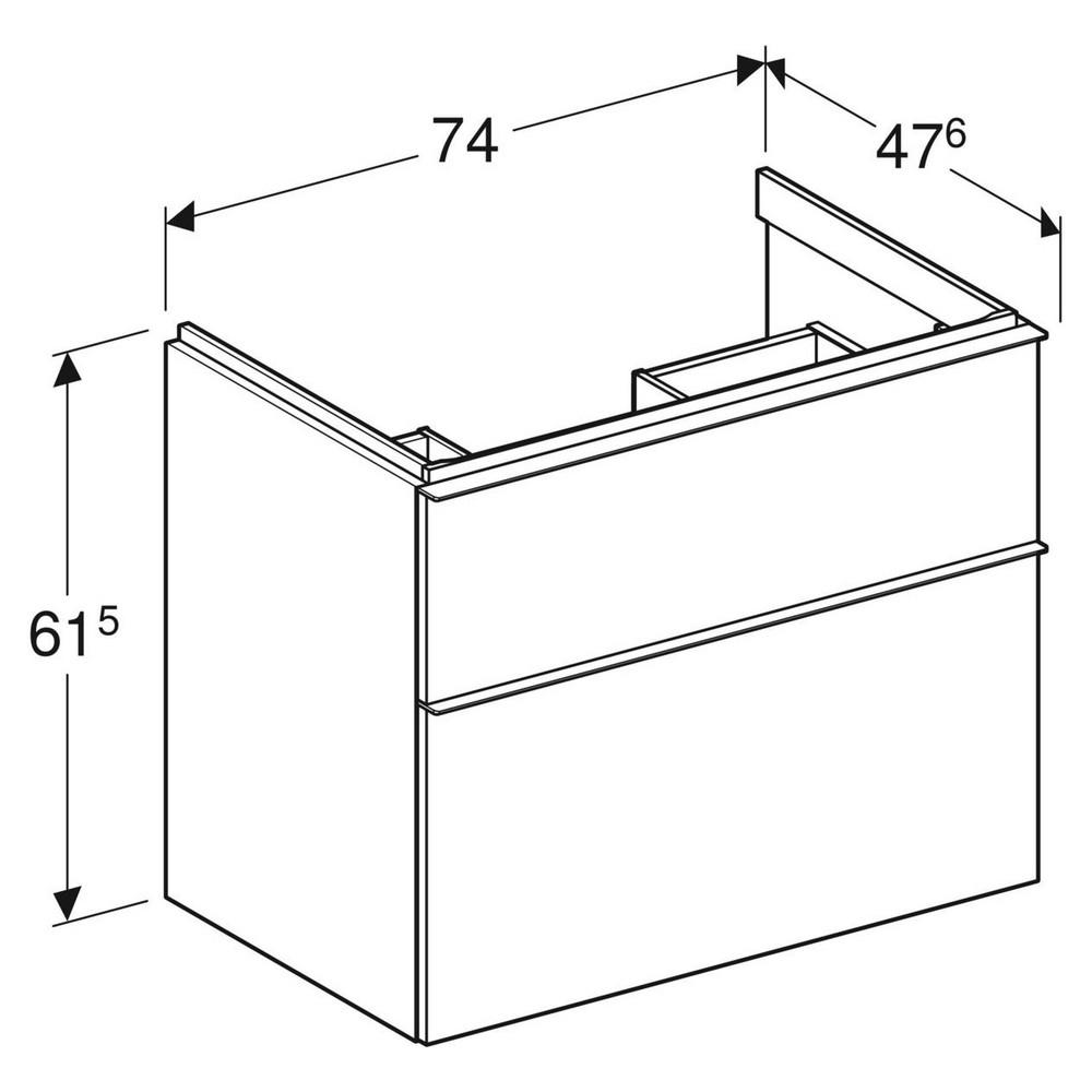 Geberit iCon wastafelonderkast 2 lade 74x47,6 cm, wit