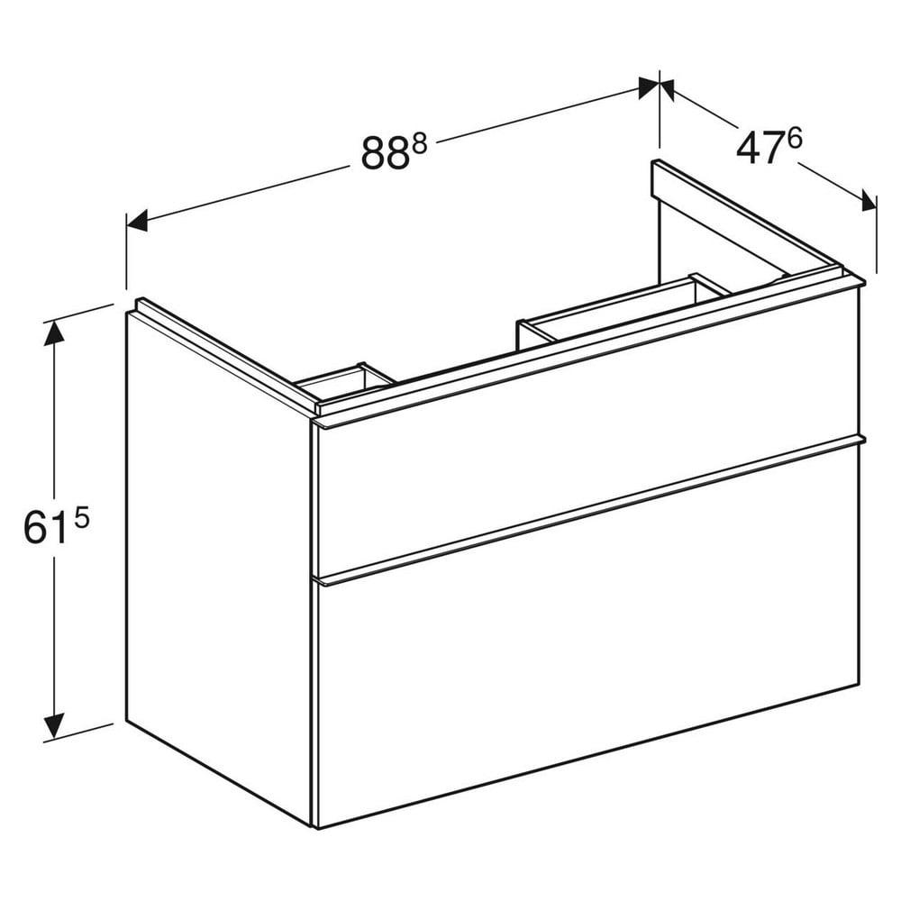 Geberit iCon wastafelonderkast 2 lade 89x47,6 cm, wit