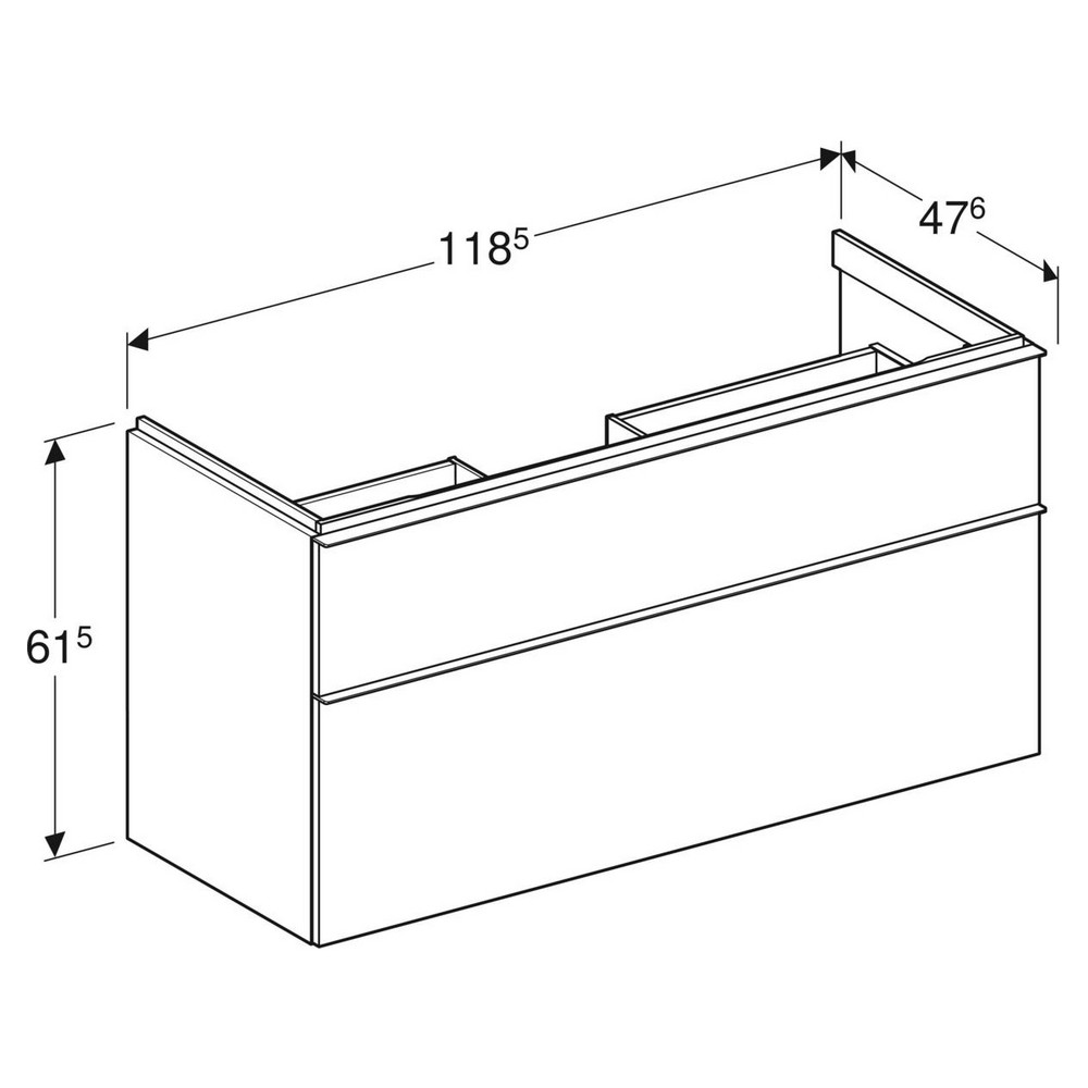 Geberit iCon wastafelonderkast 2 lade 118x47,6 cm, wit