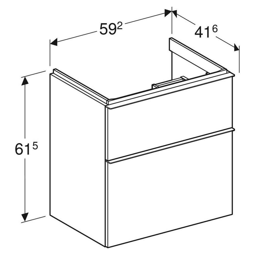 Geberit iCon wastafelonderkast 2 lade 59x41,6 cm, wit