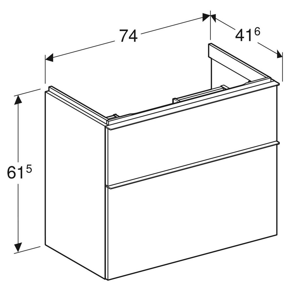 Geberit iCon wastafelonderkast 2 lade 74x41,6 cm, wit