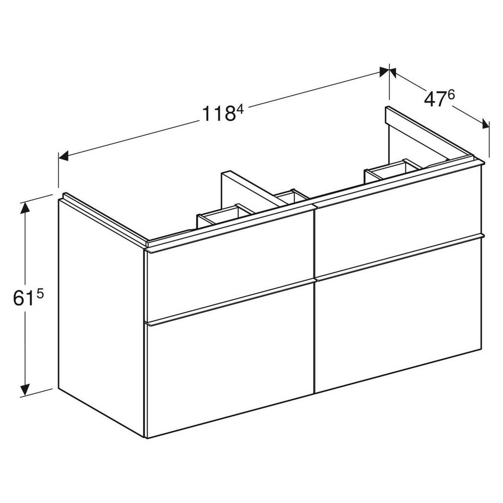 Geberit iCon wastafelonderkast 4 lade 118x47,6 cm, wit