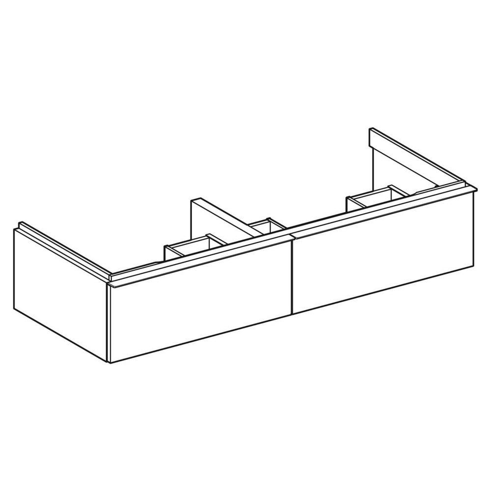 Geberit iCon wastafelonderkast 2 lade 118x47,6 cm, geschikt voor dubbele wastafel, wit