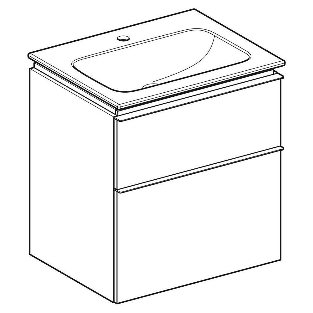 Geberit iCon wastafel 60 cm, met KeraTect, met onderkast met 2 laden, wit