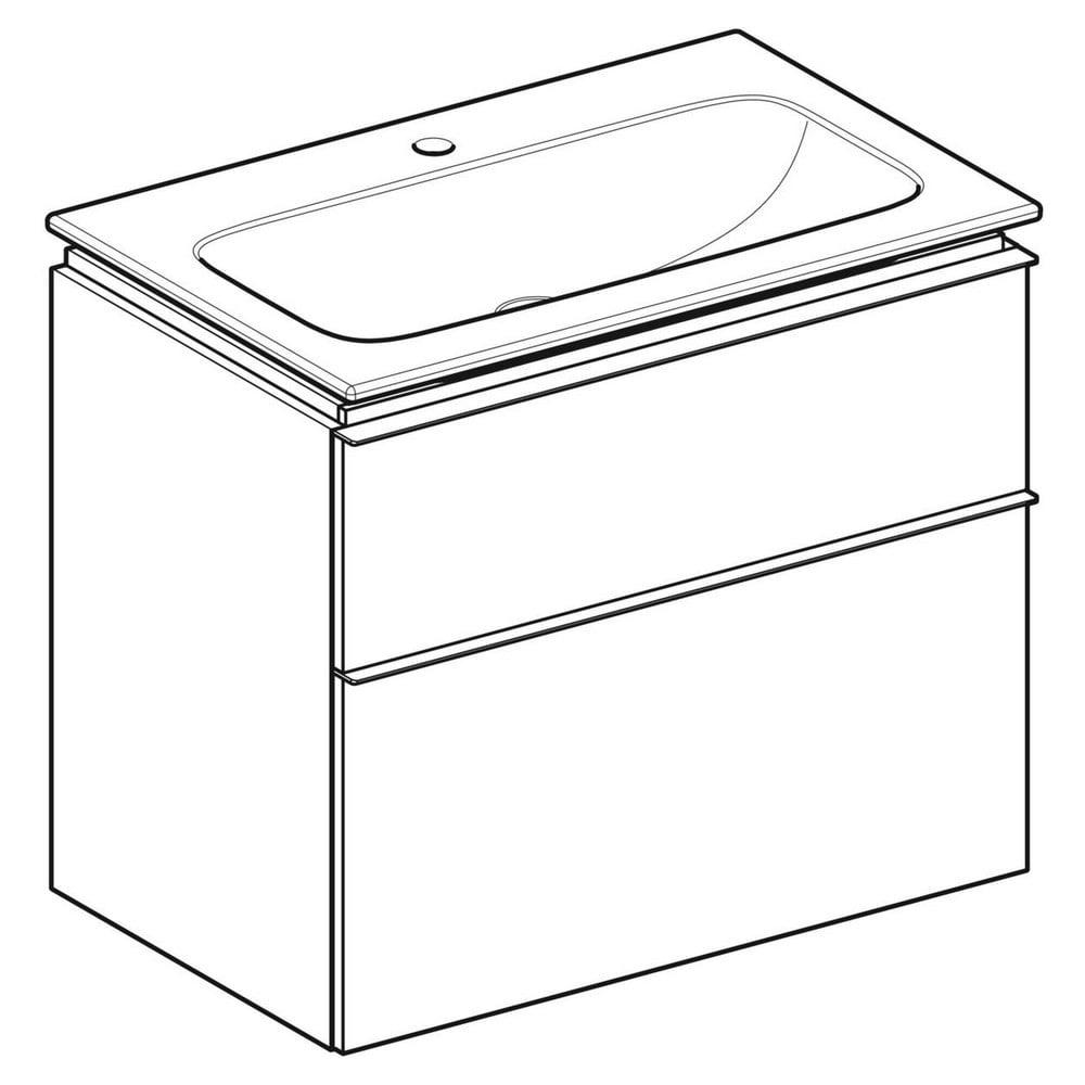 Geberit iCon wastafel 75 cm, met KeraTect, met onderkast met 2 laden, wit