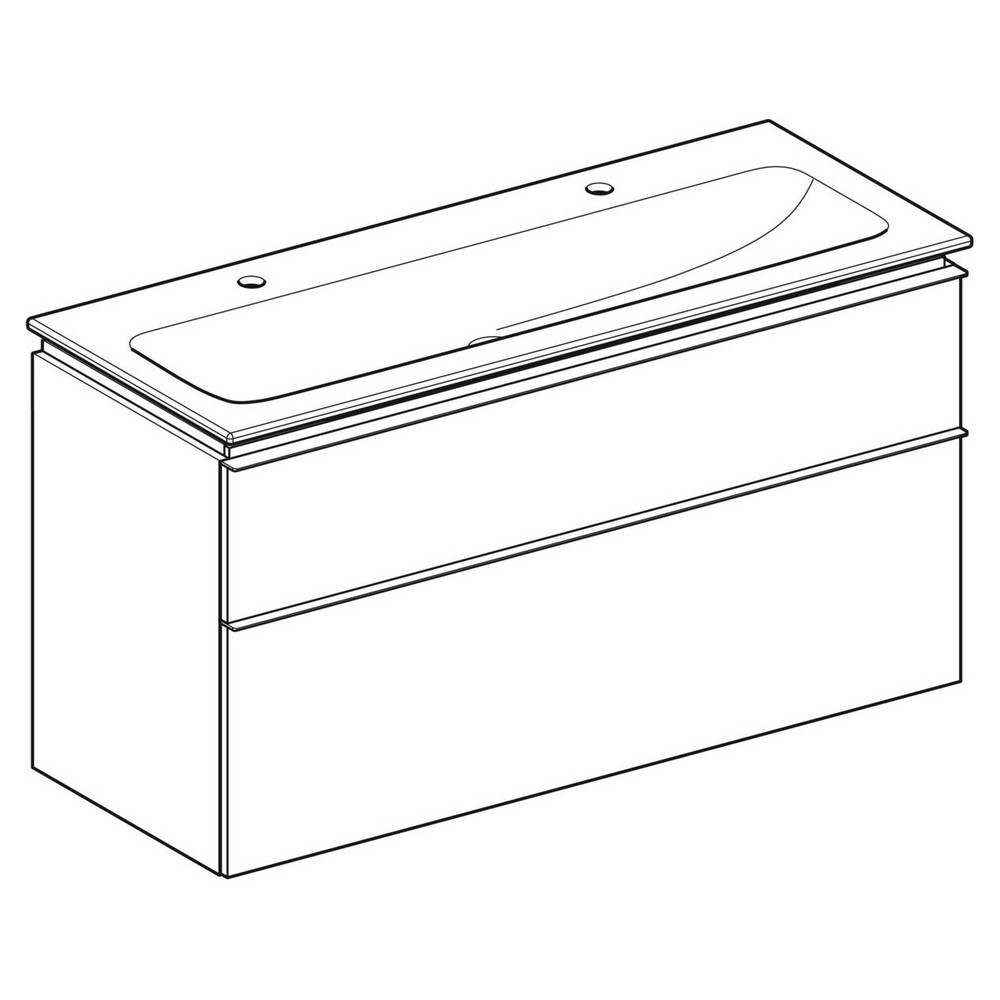 Geberit iCon wastafel 120 cm, met KeraTect, met onderkast met 2 laden, wit
