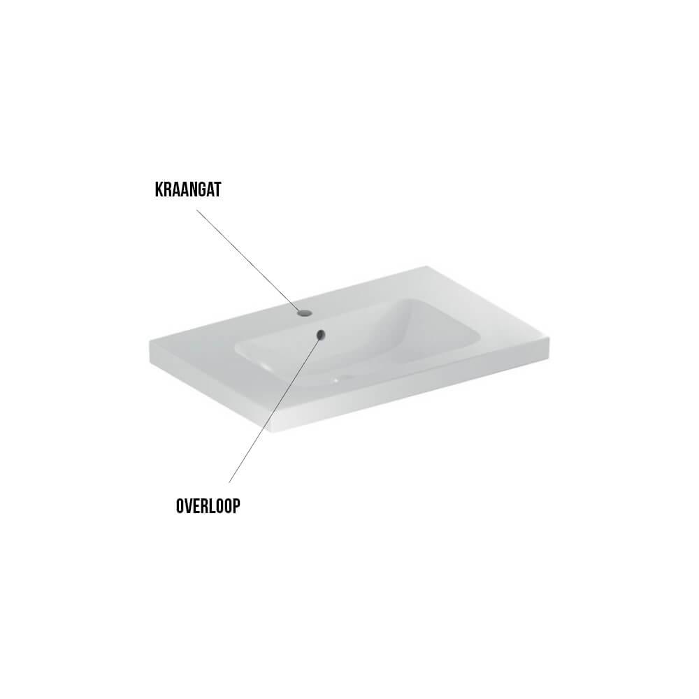 Geberit Icon badmeubelset 40 - Light wastafel met aflegvlak en wastafelonderkasten 75 cm