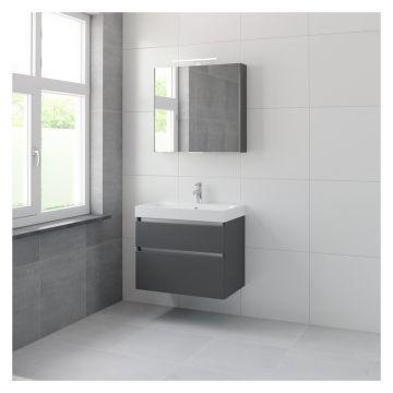 Bruynzeel Pinto badmeubelset 75 cm breed met 2 laden en spiegelkast, grafiet