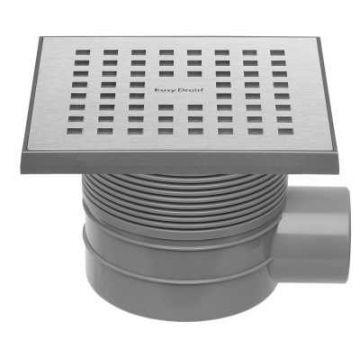 Easy Drain Aqua Quattro MSI vloerput 15x15 cm zijuitlaat kunststof, geborsteld rvs