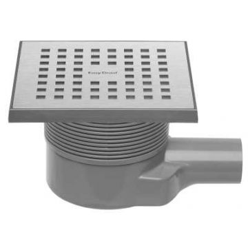Easy Drain Aqua Quattro MSI-6 vloerput 15x15 cm zijuitlaat kunststof, geborsteld rvs