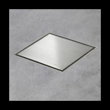 Easy Drain Aqua Jewels Quattro vloerput rvs 15x15 cm, zij-uitloop multi, rvs geborsteld