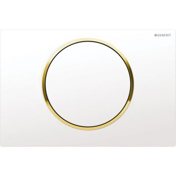 Geberit Sigma10 bedieningspaneel, plaat wit, knoppen wit, randen goud