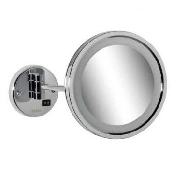 Geesa Mirror make-up spiegel met LED-verlichting en 1 arm en 3x vergrotend 21,5 cm, chroom