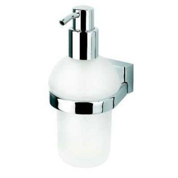 Geesa Bloq zeepdispenser met matglazen inzet 200 ml, chroom