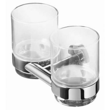 Geesa Nemox dubbele glashouder met 2 glazen, chroom