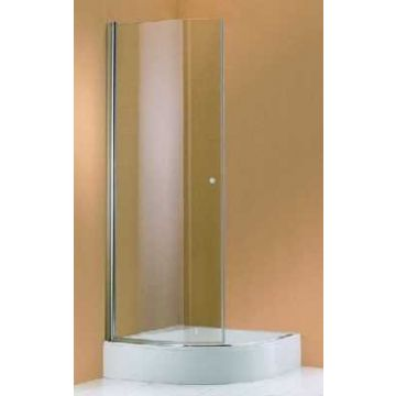 Hüppe 501 Design kwartronde draaideur helft 90x190 r55, matzilver-helder glas
