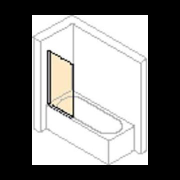 Hüppe 501 Design badklapwand 75x150 cm, met rondvormig segment, matzilver-helder glas