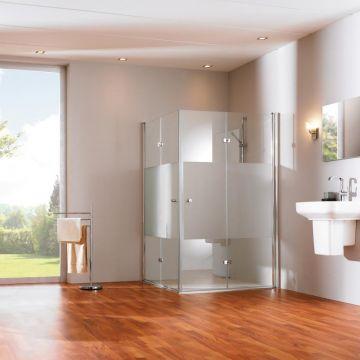 Hüppe 501 Design draai-vouwdeur 100x190 cm, links, matzilver-helder glas