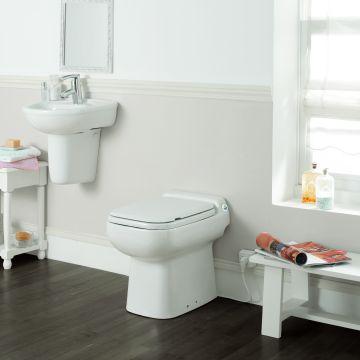 SANIBROYEUR SANICOMPACT® Luxe ECO+ staand toilet met toiletzitting, wit