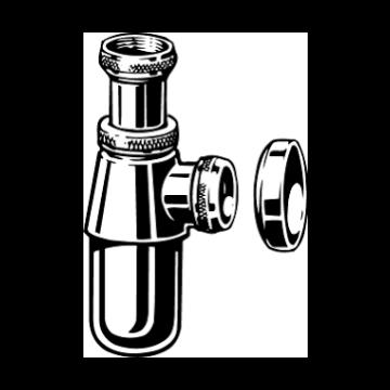 "Viega Project bekersifon 1.1/2"" zonder muurbuis met rozet, chroom"
