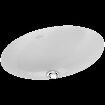 Villeroy & Boch Loop & Friends onderbouwwastafel ovaal 56x37,5 cm zonder kraangat met overloop Ceramicplus, wit alpin