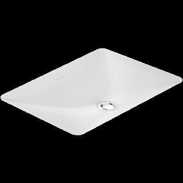 Villeroy & Boch Loop & Friends onderbouwwastafel rechthoek 60x34 cm zonder kraangat met overloop Ceramicplus, wit alpin