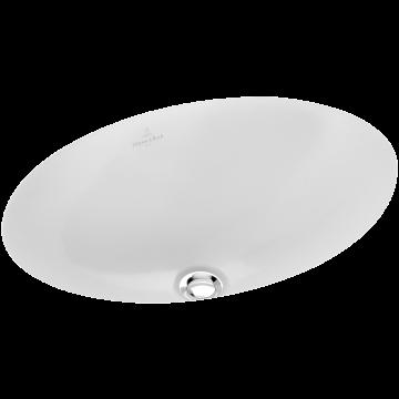 Villeroy & Boch Loop & Friends onderbouwwastafel ovaal 48,5x32,5 cm met overloop Ceramicplus, wit alpin