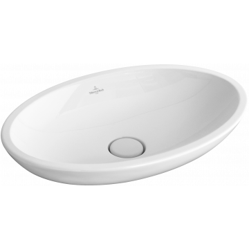 Villeroy & Boch Loop & Friends opzetwastafel ovaal 58,5x38 cm zonder overloop met plug CeramicPlus, wit alpin