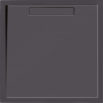 Villeroy & Boch Squaro douchebak 90x90x1,8 cm Quaryl, met afvoer en ondersteuning, antraciet