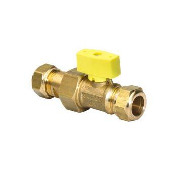 VSH gaskogelkraan recht 15 mm knel x 15 mm kopp./knel