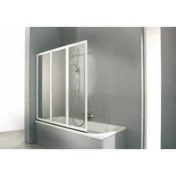 Hüppe Combinett badkuipwand 3-delig 140x140 cm, zilvermat/helder glas