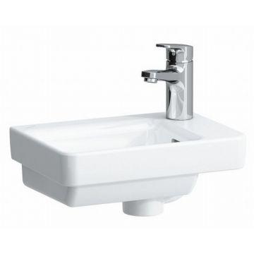 Laufen PRO S fontein 36x25 cm met 1 kraangat rechts met overloop, wit