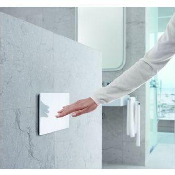 Geberit Sigma70 bedieningspaneel voor 12 cm diep inbouwreservoir, glas wit/aluminium