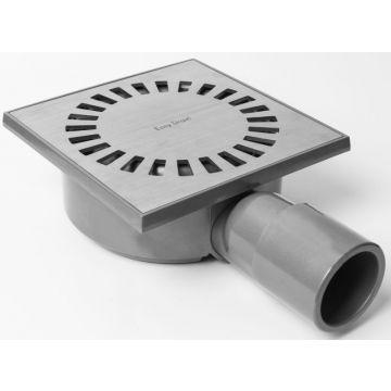Easy Drain Aqua Compact vloerput 15x15 cm zijuitlaat kunststof, rvs geborsteld