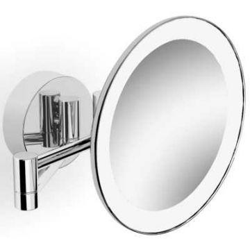 Sub 127 make-up spiegel met LED-verlichting en schakelaar en 2 armen en 3x vergrotend 20 cm, chroom