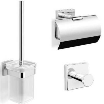 Sub 157 toiletset met ophanghaak, toiletrolhouder en borstelgarnituur, chroom